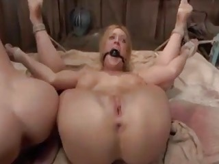 Two bound sluts get pussy pounded by the master BDSM