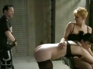 Group spanking and pussy play with toys in stockings BDSM