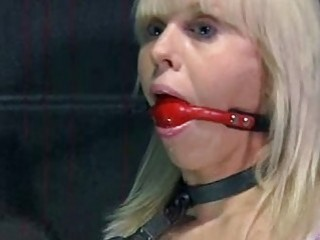 Blonde skank enjoys being gagged and tied up BDSM porn
