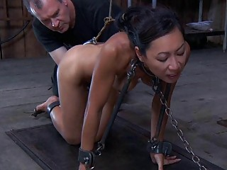 Seducing Asian gets almost choked in a wild submission scene