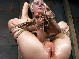 Blonde slave girl roped and molested by freaky guy BDSM