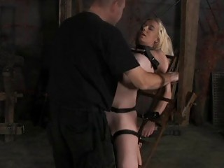 Bound submissive slut receives pussy torture from master BDSM movie