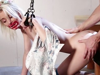 Stunning young slut with blonde hair sucks on white dick