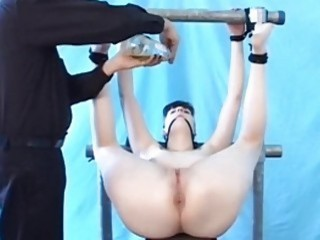 BDSM chick fingers her mans ass and teases him hard