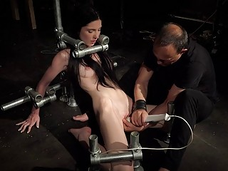 Bondage Teen in Hard BDSM punishment in creepy sex dungeon