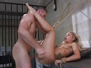 Horny daddy fucks her tight pussy and mouth very hard