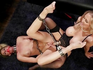 Blondie with big titties eats pussy of her lesbian mistress