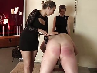 Big booty slave bent over and caned hard two mistresses