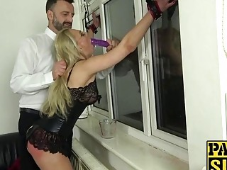 Blondie bends over and takes a big fat dick inside