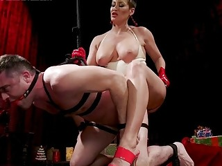 Big titty babe fucks her male slaves tight butt hole