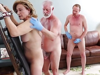 Mature babe enjoys a BDSM threesome with horny old men