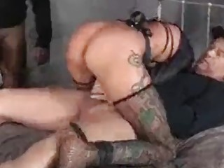 Hardcore pussy pound for a submissive blonde in sleazy stockings