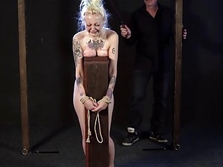 Slut with pigtails gets her fat ass whipped very hard