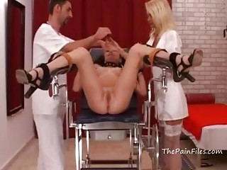 Naked mature naughty obeys BDSM and bondage on a chair