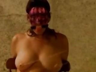 Busty amateur enjoys BDSM and having her big tits tortured