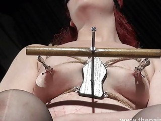 Fat girl in stockings enjoys BDSM and torturing her nipples