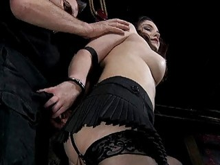 Pretty babe in black lingerie receives extreme punishment BDSM porn