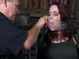 Gagged slut is about to get pussy tortured hard BDSM