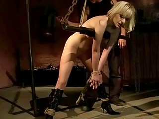 Busty bondage chick receives toying and pussy drilling session BDSM