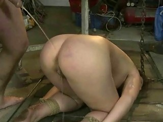 Pervert pisses on his slave and ass fucks her BDSM