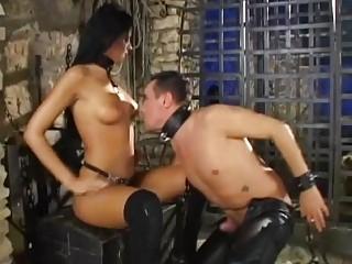 Stunning brunette dominant mistress rides her slave's big hard dick