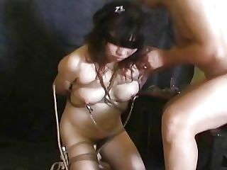 Bound Asian submissive wife gives her body to her man