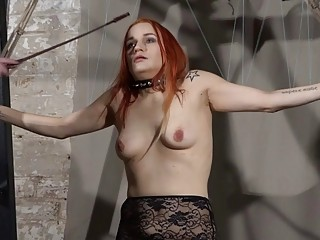 Redhead bitch is whipped and taught a real life lesson