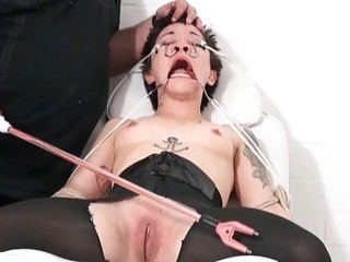 Appealing girl with short haired dominated by her dominant male