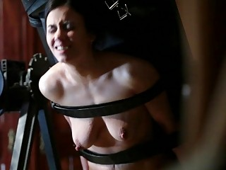 Poor maid gets tied up and whipped by master BDSM