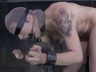 Submissive Freya French gets her tits and ass whipped BDSM