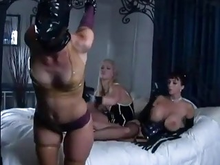 Busty lezdom mistress feet fucks her lesbian slave BDSM porn