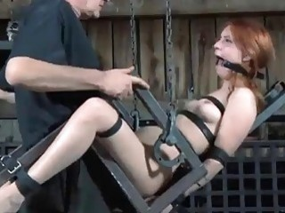 Restrained ginger bitch Calico Lane loves it rough BDSM porn