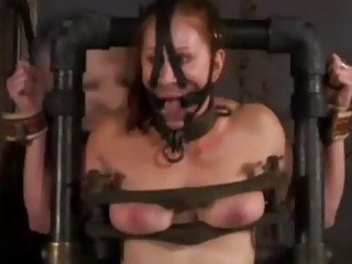 Ginger slut Catherine DeSade tied up and anally toyed BDSM