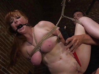 Huge tits chubby babe anal fucked into submission BDSM bondage