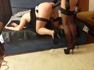 Mistress pegs her masked slave with giant strapon BDSM porn