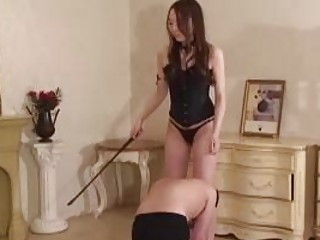 Slave receives male whipping for hot Japanese mistress BDSM porn