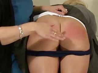 Schoolgirl spanked and caned by lesbian headmaster BDSM fetish porn