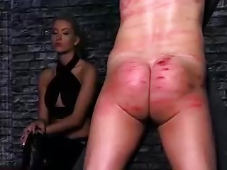 Domina in whipping competition with her nasty slaves BDSM porn