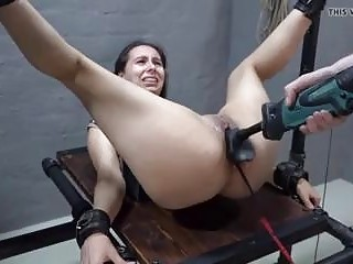 Bound babe ass toyed and pussy tortured with BDSM machine