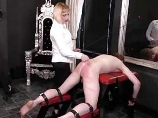 Femdom mistress whips her tied up sub slave BDSM porn