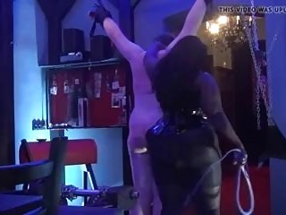 Male Whipping session with fat slave and his BDSM mistress
