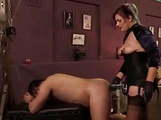 Femdom domina slut pegs her slave from behind BDSM porn