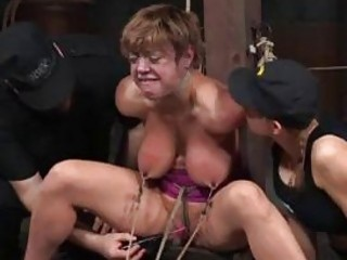 Busty nipple clamped sub mercilessly punished by her master BDSM