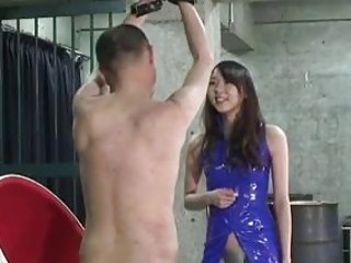 Abusing Japanese girl has fun with her slaves BDSM porn