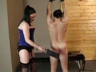 Bound slave guy anally drilled by strapon wearing mistress BDSM