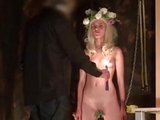 Cute slave endures hard waxing and toying BDSM fetish porn