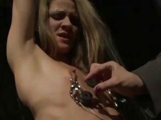 Submissive euro slut tortured by freaky lesbian mistress BDSM porn
