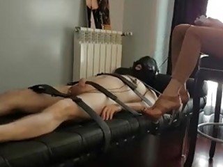 Tied up slave electrically tortured by his mistress BDSM porn