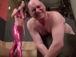 Bald fat fuck whipped by BDSM mistress hardcore fetish porn