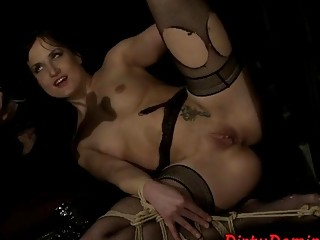 Masked up leather babe gets her tight pussy filled up